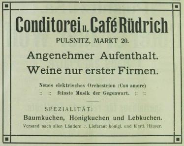 Werbeanzeige von Café Rüdrich von 1910. Quelle: Angela Graff.