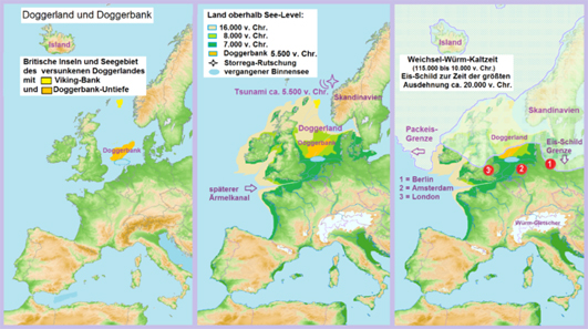 Land bridge between mainland Europe and Great Britain - Doggerland and Doggerbank. Map showing the hypothetical extent of the Doggerland from the Weichselian glaciation until the current situation (in 2000). Photograph: Juschki / https://creativecommons.org/licenses/by-sa/4.0/deed.en