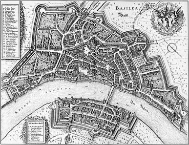 Ansicht der Stadt Basel von Matthäus Merian, 1642.