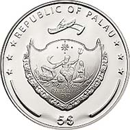 Palau - 2011 - 5 Dollar - 1 Once 925 Ar - Proof - Diameter 38,61 mm - Mintage: 2011 Stück.