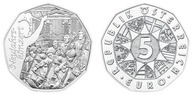 Austria / 5 Euros / Silver .800 / 8 g / 28.5 mm / Design: Helmut Andexlinger (obverse) and Herbert Waehner (reverse) / Mintage: 50,000.