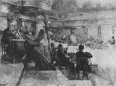 Vienna Philharmonic Orchestra at the rehearsal (Felix von Weingartner conducting), 1926. Etching by Ferdinand Schmutzer.