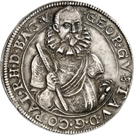 This impressive 1596 reichstaler of George Gustav of Pfalz-Veldenz was  minted in Weinburg. This is the only specimen on the market. The piece will be  auctioned off during the Künker Berlin Auction on February 4th, 2016.