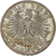 No. 1360: Germany / Frankfurt. 1/2 gulden 1862. AKS 17. Rare. Proof. Estimate: 600 euros.