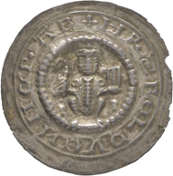 No. 1395: Germany / Hersfeld. Heinrich IV, 1264/1267. Bracteate, Arnstadt. Very rare. Estimate: 600 euros.