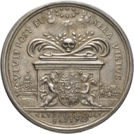 No. 1400: Germany / Hesse. Friedrich II, 1760-1785. Silver medal, 1765, displaying his portrait by Jacob Abram, on the death of his aunt Maria Louise. Schütz 1538. Extremely fine. Estimate: 600 euros.