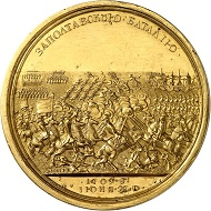 Gold medal on the Battle of Poltava, 1760, based on the original medal of 1709. This specimen in extremely fine condition, which will be auctioned off on February 4th, 2016 at the Künker Berlin-Auction under lot 714, is estimated with 20,000 euros.