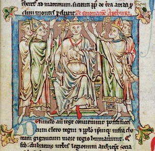 King Arthur, book painting from the Flores Historiarum by Matthew Paris, 13th century.