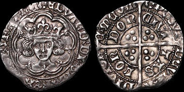 Lot 167: Edward IV/V. 1483. Groat. S. 2146. N. 1672. Good Very Fine; beautifully toned. An exceptional example of a groat of this rare and historic era. Estimate: $5,000.