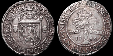 Lot 291: SCOTLAND. Mary Stuart (after Abdication). 1542-1567. Ryal. Dated 1566 but probably struck around 1572. S. 5425 type. SCBI 58, Edinburgh: 1189 (same dies). Good Very Fine. Estimate: $1,500.
