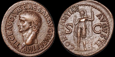 Lot 24: Claudius. A.D. 41-54. As. Rome mint. Struck circa A.D. 41-50. RIC I 95. Near Extremely Fine; light red-brown patina. An exceptional coin with a fine portrait and a particularly well detailed reverse, on a broad flan. Choice coin. Estimate: $1,000.