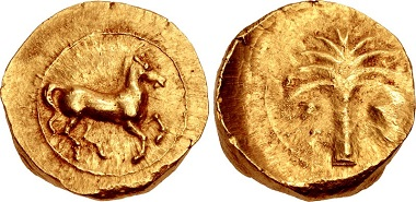 ZEUGITANA, Carthage. Circa 390-380 BC. Shekel or Stater Jenkins, Punic pp. 30-31 and pl. 6, D. Jenkins & Lewis 1; MAA 1 (this coin illustrated). Of the greatest rarity, the second known example. Struck from a worn reverse die, otherwise, extremely fine.