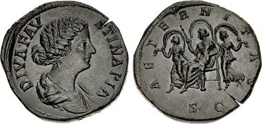 Diva Faustina Junior, died in the winter of 175. Sestertius, Rome, c. 176-180. Banti 7. BMC (Marcus Aurelius) 1568var. RIC (Marcus Aurelius) 1697var. Very rare. A remarkably beautiful example. Minor flan crack, otherwise, extremely fine.