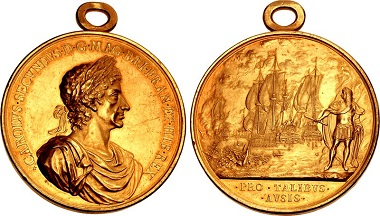 GREAT BRITAIN. Charles II, 1660-1685. Medal on the Battle of Lowestoft, by J. Roettier, 1665. Eimer 230. MI 503/139. Van Loon II, p. 526. Faint hairlines, otherwise, extremely fine.