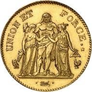 Frankreich. Consulat, 1799-1804. Probe in Gold zu 5 Francs, Jahr 10 (1801/02). Das einzig bekannte Exemplar in Privatbesitz wird am 4. Februar 2016 in der Berlin-Auktion des Auktionshauses Künker unter Nr. 499 versteigert. Die Schätzung beträgt 125.000 Euro.