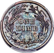 1894-S Barber Dime, Branch Mint PR66. Only 24 Examples Struck, Possibly Nine Known Today. Finest PCGS Specimen, Ex: Clapp-Eliasberg-Richmond. Price realized: $1,997,500.