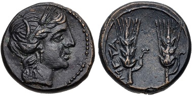 Lot 10: LUCANIA, Metapontion. Circa 225-200(?) BC. Johnston 79; HN Italy 1715. Near EF. From the Edgar L. Owen Collection. Estimate $150.