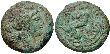 Lot 24: BRUTTIUM, Medma. 4th century BC. Virzi 357 (this coin). VF. Rare. From the Edgar L. Owen Collection. Ex Thomas Virzi Collection, 357. Estimate $300.