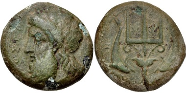 Lot: 74: SICILY, Messana. 338-318 BC. Caltabiano 709.14 (D1/R1) = Virzi 1147 (this coin). VF. From the Edgar L. Owen Collection. Ex Thomas Virzi Collection, 1147. Estimate $200.