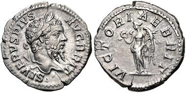 Lot 520: Septimius Severus. AD 193-211. Denarius. British Victory type. Rome mint. Struck circa AD 210-211. RIC IV 333; RSC 728. Near EF. Estimate $100.
