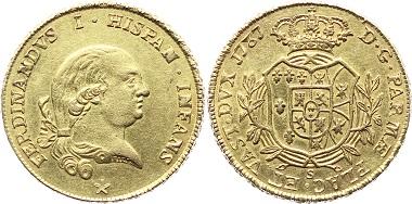 G223: Italien-Parma. Ferdinand von Bourbon, 1765-1802. 4 Doppie 1787. Fb. 928; KM C20a; CNI 81; MIR 1060. Fast vorzüglich 6.500,- Euro.