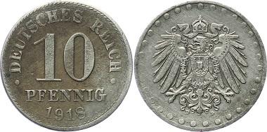 J298: 10 Pfennig 1918D (München), kleine Prägeschwäche, sehr schön. 1.100,- Euro.