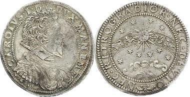 I08-120: ITALIEN- MANTUA. Ducatone 1636 Karl I. Sonne, Sterne, Sternzeichen CNI 4.366.28; Dav. 3954. Patina, sehr schön+ (Jahr im Stempel aus 1628 geändert) 4.750,- Euro.