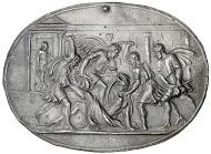 Plakette von Valerio Belli (um 1468-1546) auf die Ermordung C. Iulius Caesars (44 v. Chr.), HMB Inv. 2014.561.
