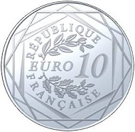The 10 euro silver coin: France / 10 euro / 16 mm / 17g Fineness Ag 333 / Mintage: 250,000.