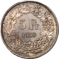 Tied for finest graded, the 1855 Solothurn, Swiss Shooting Taler in MS65 realized $19,975.