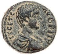 Lot 3193: Judaea City Coinage. Akko-Ptolemais. Geta. AE 18, as Caesar, 198-209 CE. Ca. 211/2 Cf. Kadman, Akko 150-2 (obv. legend);. Very Rare. Extremely Fine. Estimate: $400 - $600.