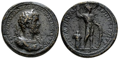 Lot 572: Septimius Severus, 193-211 Medallion 196, Gnecchi p. 74, 12 and pl. 93, 5. C 132 var (350 Fr). Toynbee p. 161, note 58 and pl. 40, 3 var. Very rare. Dark brown patina. About Very Fine. Starting Bid: £500.