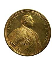 Representational medal of 100 ducats, 1733. Frederick William I King in Prussia (1713 -1740), medallist Peter Paul Werner (Nuremberg 1689 -1771 Nuremberg), gold, 348.64 g, 87 mm, 12 o'clock. Vienna Coin Cabinet, inv. 86 bß.