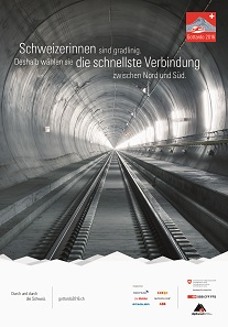 Posters advertise the opening of the Gotthard Base Tunnel. Source: Gottardo 2016.