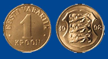 Estnisches 1-Kronen-Stück. Foto: Wikipedia.