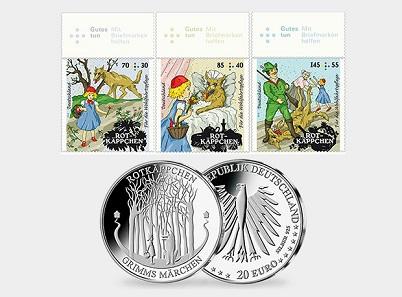 Die drei neuen Briefmarken und die 20-Euro-Gedenkmünze zum Thema