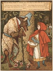 Rotkäppchen trifft den Wolf im Wald in einer Darstellung des englischen Kinderbuchillustrators Walter Crane.