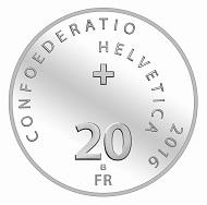 Schweiz / 20 Franken / Silber .835 / 20 g / 33 mm / Design: Marc Roulin / Auflage: 30.000 (unzirkuliert) bzw. 5.000 (Polierte Platte).