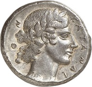No. 35: KATANE (Sicily). Tetradrachm, ca. 450-445. HGC 566 (this piece). Very rare. Most likely one of the best specimen of this type. Extremely fine. Estimate: 25,000 euros.