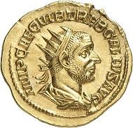 Nr. 484: TREBONIANUS GALLUS, 251-253. Aureus, Rom. Äußerst selten. Stempelglanz. Taxe: 30.000,- Euro.