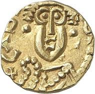 Nr. 3001: MEROWINGER. Austadius, 640-680. Tremissis, o. J., Cabilonnum (= Chalons-sur-Saone). Äußerst selten. Sehr schön bis vorzüglich. Taxe: 2.000,- Euro.