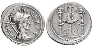 Los 1833: Bürgerkriege. Octavianus. Denar. 42 v. Chr. Taxe: 1400,- Euro.