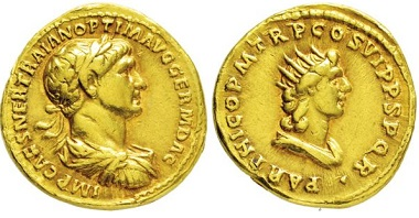 Los 2063: Römisches Kaiserreich. Trajan. 98-117 n. Chr. Aureus. Taxe: 7500,- Euro.