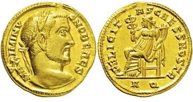 Los 2428: Römisches Kaiserreich. Maximinus II. Daia. 309-313 n. Chr. Aureus. Taxe: 35000,- Euro.