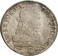 Bolivia. 8 soles 1827, Potosí. Bust of Simón Bolívar in uniform with laurel wreath. R. Tree between two llamas, above six stars. © MoneyMuseum, Zurich.