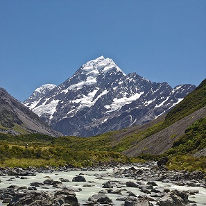 Mount Cook / Aoraki, vom Hooker Valley aus gesehen. Foto: Jörg Hempel / https://creativecommons.org/licenses/by-sa/3.0/de/deed.en