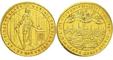 Los 3043: Kurfürstentum Bayern. Maximilian I. 1623-1651. München. 5 Dukaten 1640 auf die Neubefestigung der Stadt. Taxe: 9000,- Euro.