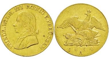 Los 3544: Königreich Preußen. Friedrich Wilhelm III. 1797-1840. ½ Friedrichs d'or 1814. Taxe: 5500,- Euro.