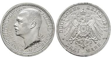 Los 3681: Großherzogtum Hessen-Darmstadt. Ernst Ludwig. 1892-1918. 3 Mark 1917. Taxe: 4000,- Euro.