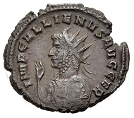 Lot 495: GALLIENUS, 253-268. Antoninian, Milan, 264. RIC V/1,193,490, Göbl/MIR 36, Pl. 88,1115w (this coin). Unique. Dark patina. Good very fine. 450 EUR.